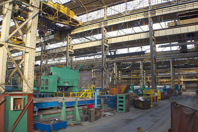 The factory is vast, with many items of large machinery still present that are due to be sold as company assets.